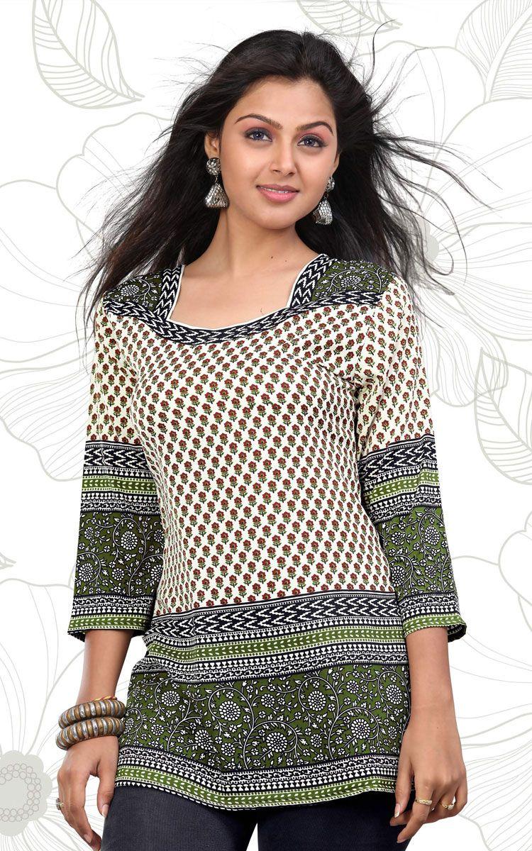 Indian Designer Gorgeous Printed white Crepe Silk Kurtis TunicTop Kaftan Women