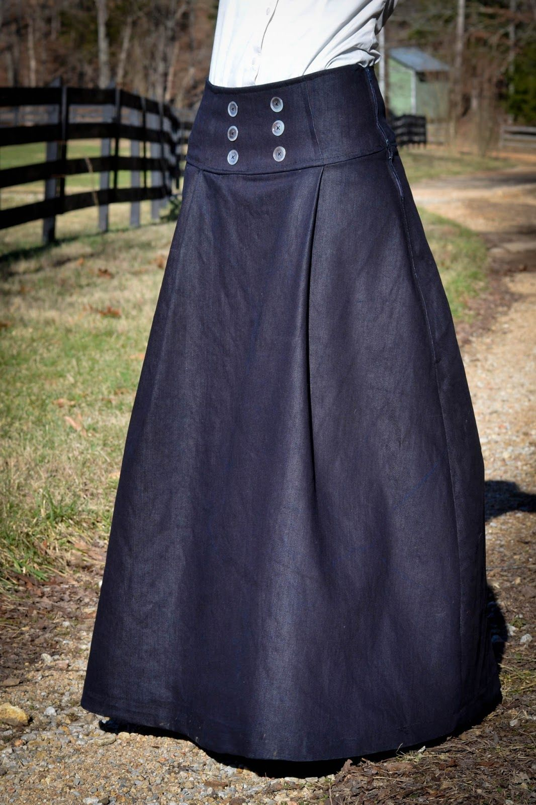 7ce9d31cb DIY Tutorial on how to make this denim sailor inspire pleated long skirt  with buttoned Front. - Eager Hands: |~ Long Sailor Skirt