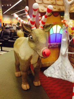 #Rudolph the red nosed #reindeer loves to frolic around Art Van Winter Wonderland!