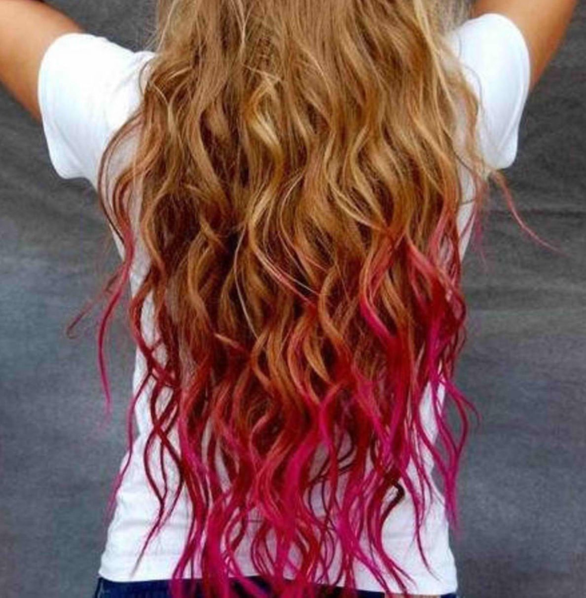Hot Pink Highlights Hair Styles Dip Dye Hair Temporary Hair Color