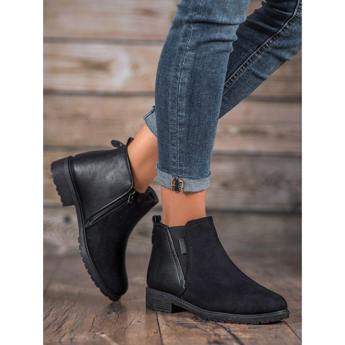 Shelovet Klasyczne Botki Czarne Boots Classic Boots Womens Boots