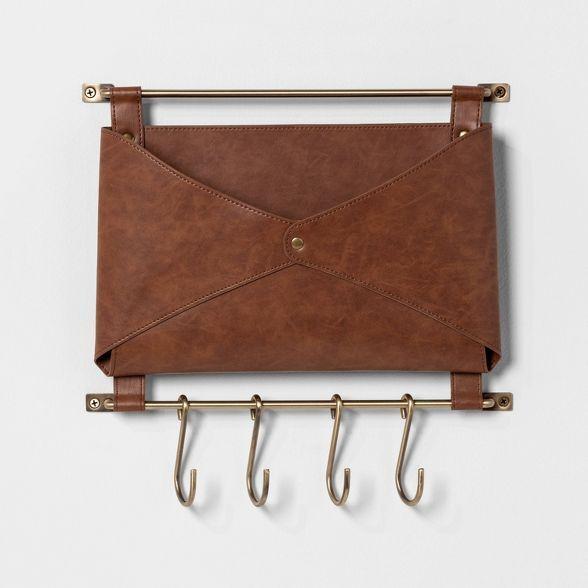 Entryway Metal Hook Rail With Leather Folio Brown Threshold In 2020 Leather Metal Hooks Hook Rack