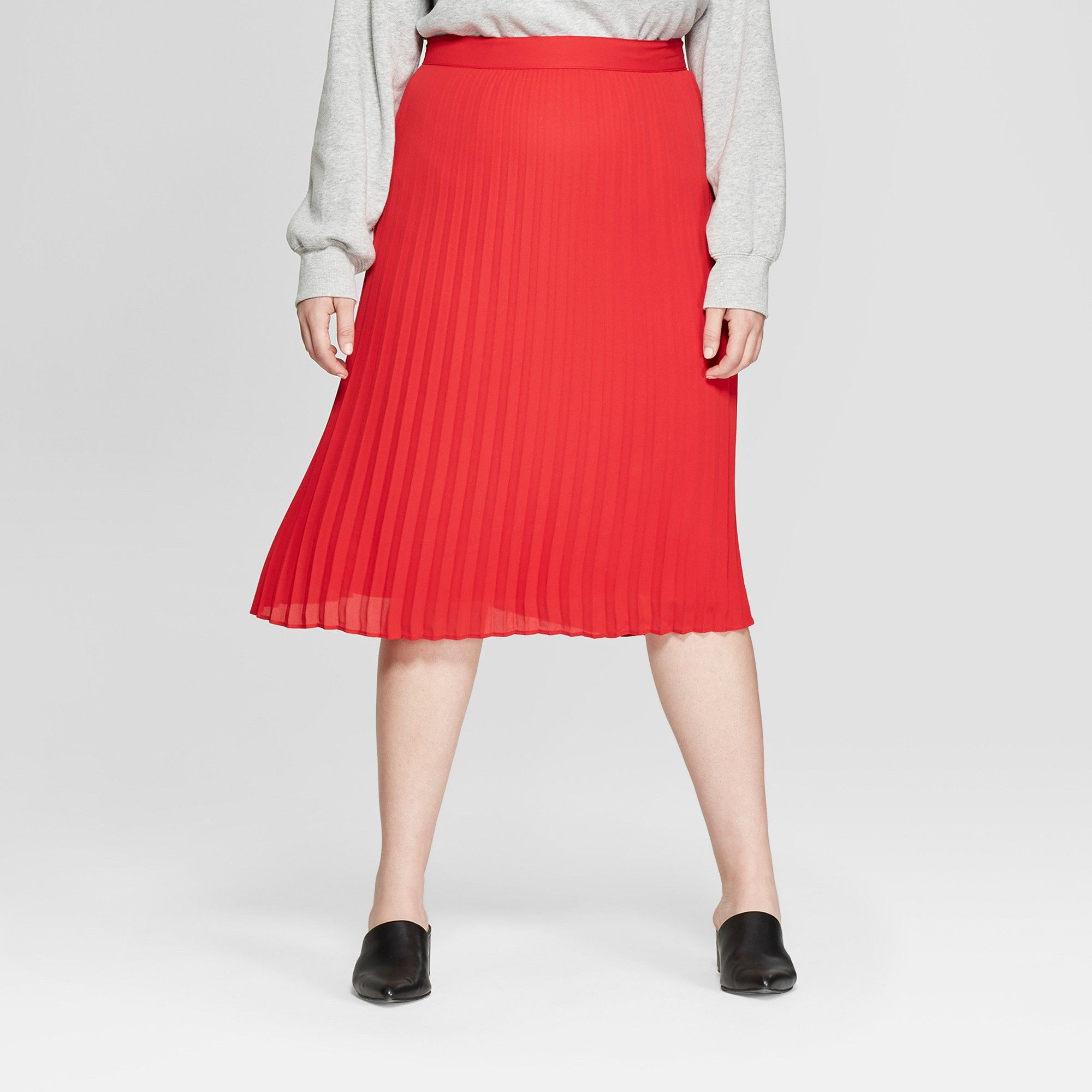 35fbacf0e Women's Plus Size Pleated Midi Skirt - A New Day + Vital Voices - Red 1X