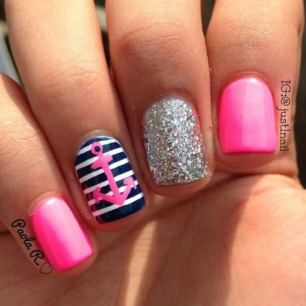 Pink Silver Glitter Blue And White Nautical Themed Nails Anchor Nail Art If I Get Acrylic This Is What M Getting