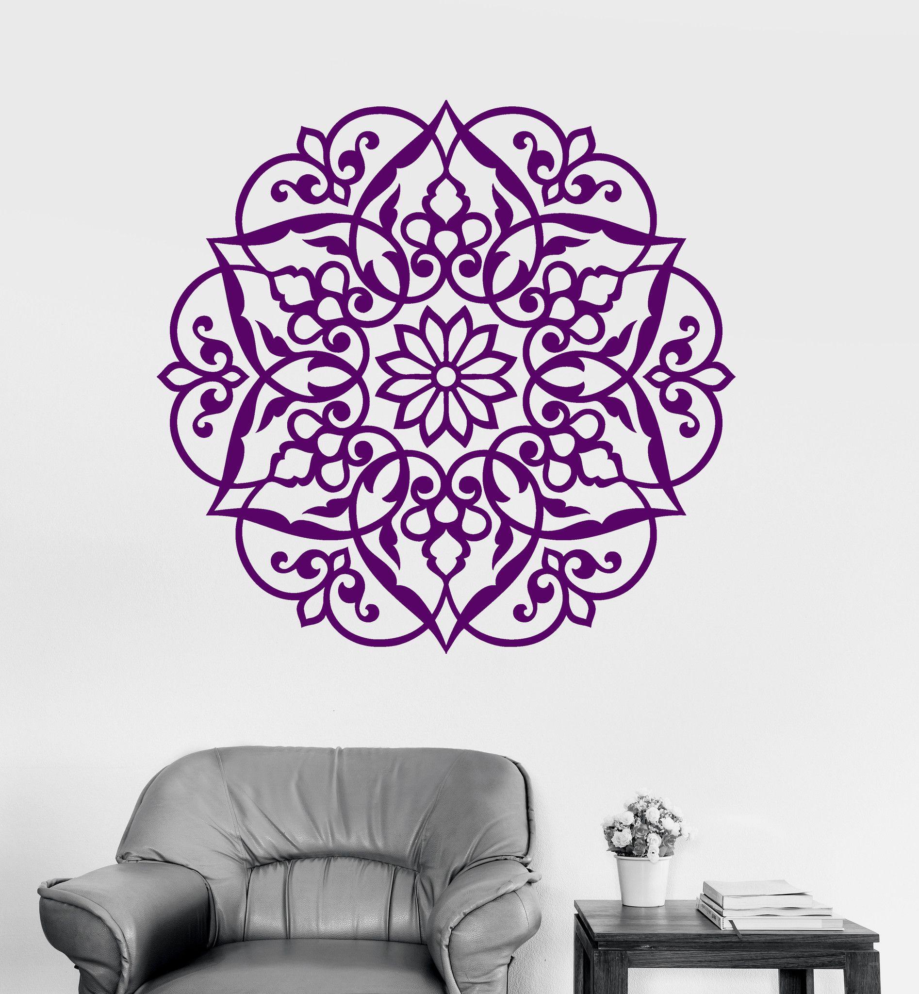 Vinyl Wall Decal Lotus Mandala Ornament Bedroom Decor Buddhism Stickers Ig3472