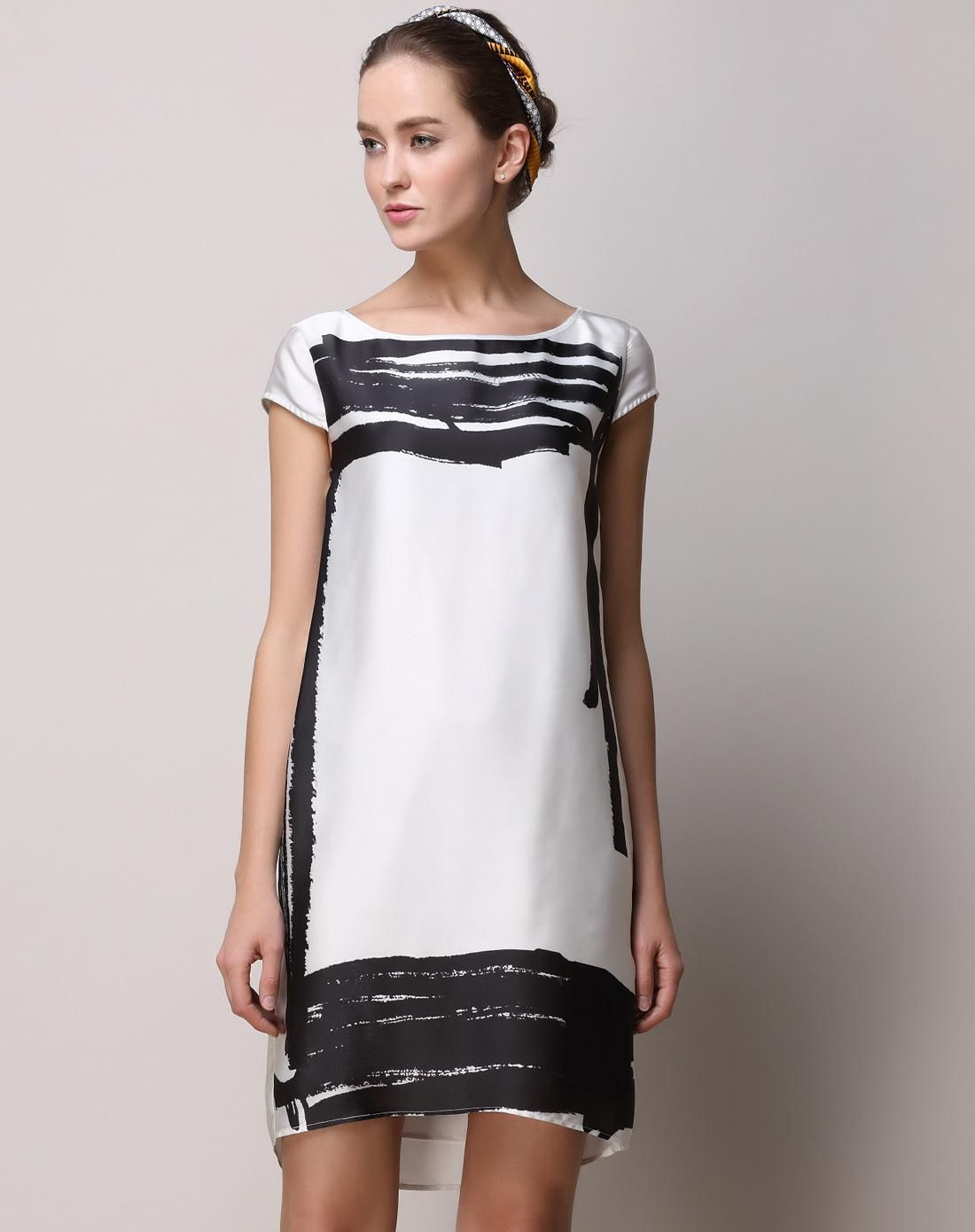 #AdoreWe #VIPme Shift Dresses - SAINTY White High Low Cap Sleeve Art Mini Shift Dress - AdoreWe.com