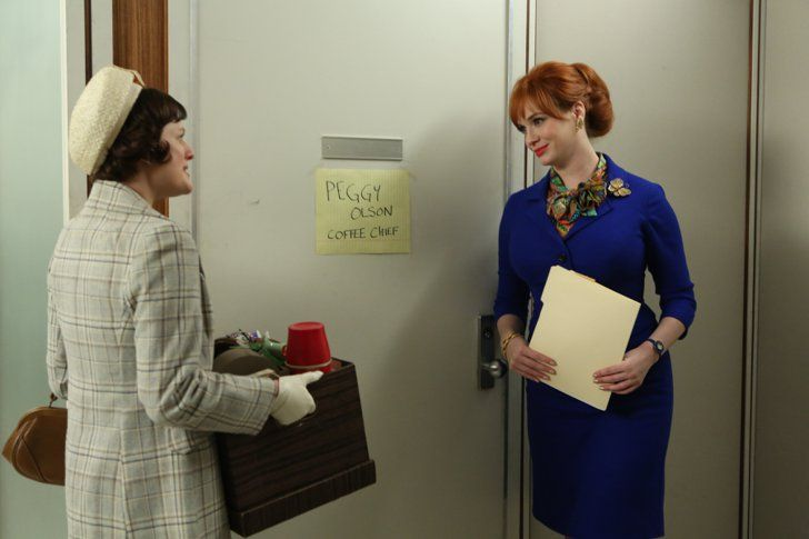 Pin for Later: The Bold Costumes on Mad Men Are the Reason Why We Already Miss the Show Season 6 Peggy Olson and Joan Harris