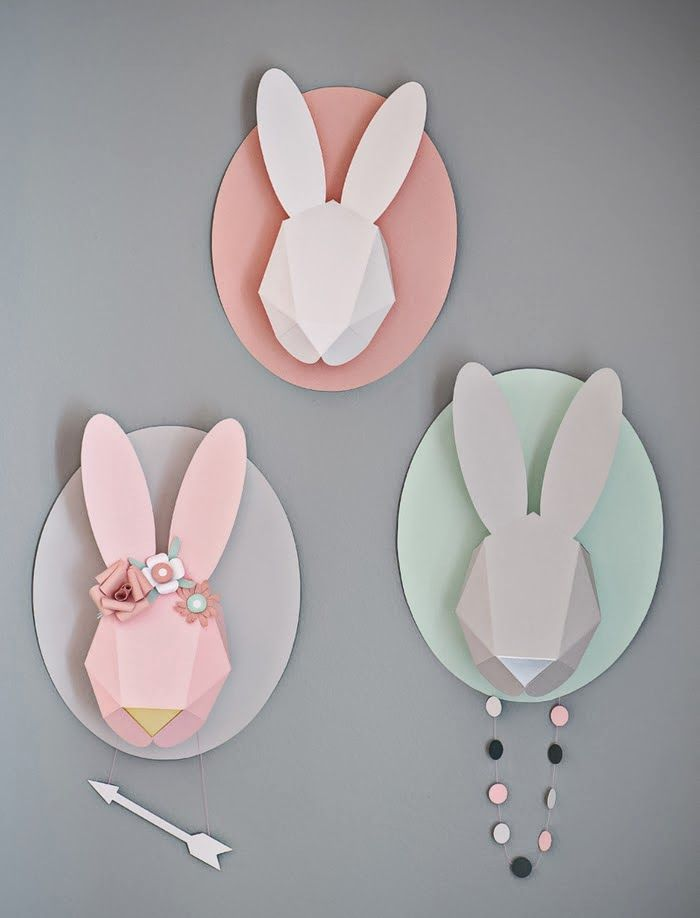 FREE Printable bunny template  Tête de lapin en 3D - Trophée {DIY - copy coloring book pages of rabbits