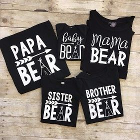 Bear Shirts For The Family Black Baby Shower Shirts