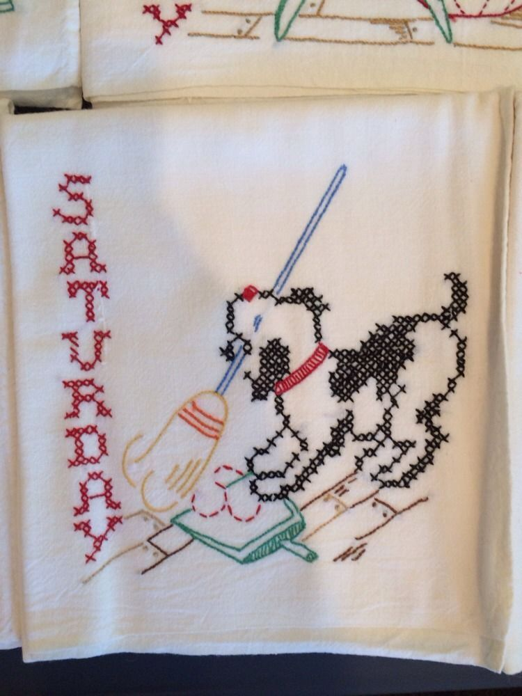 Vintage Hand Embroidered Days of Week Dish Cloths Tea Towels Scotty Dog Set of 7 |