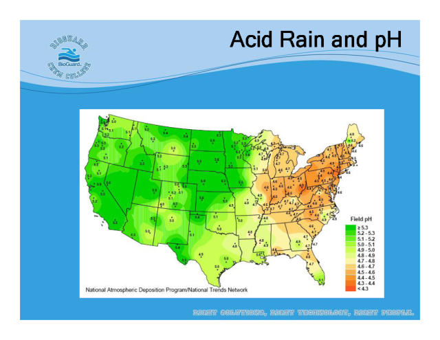 acid rain is a very big The acid in acid rain drains important minerals from the leaves and the soil, and is very bad for plants, trees and agricultural land if the soil is alkaline when acid rain falls on it the acid becomes neutral and so the plants are not hugely affected, but it the soil is slightly acidic, it can be disastrous.