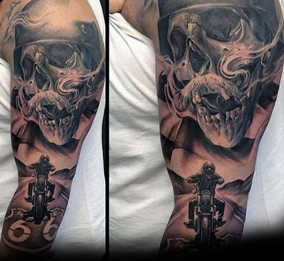Incredible Harley Davidson Skull Motorcycle Rider Guys Sleeve Tattoo Tatouage Biker Tatouage De Motard Tatouage Manchette