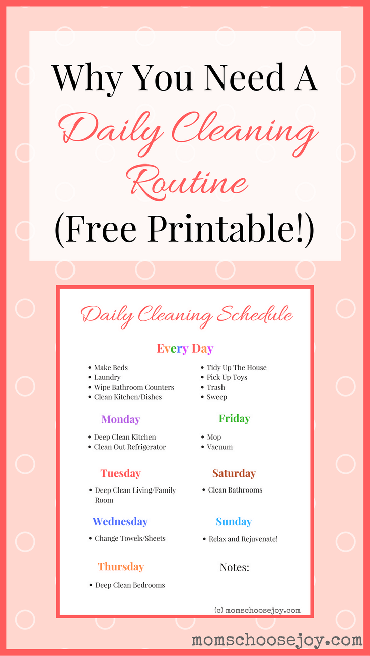 This is an image of Clean Daily Cleaning Schedule Printable