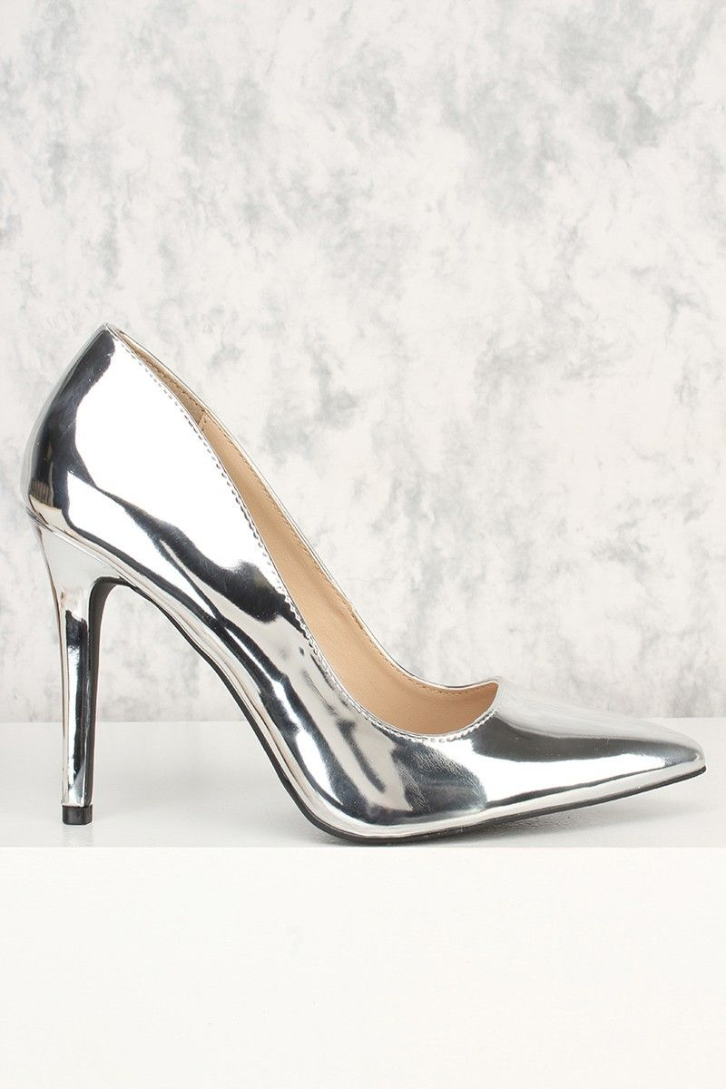 fa0080e401 Be ready to step out in style in these one of a kind heels! Featuring; faux  leather, metallic, pointy toe, cushioned footbed. Approximately 4 1/3 inch  heel.