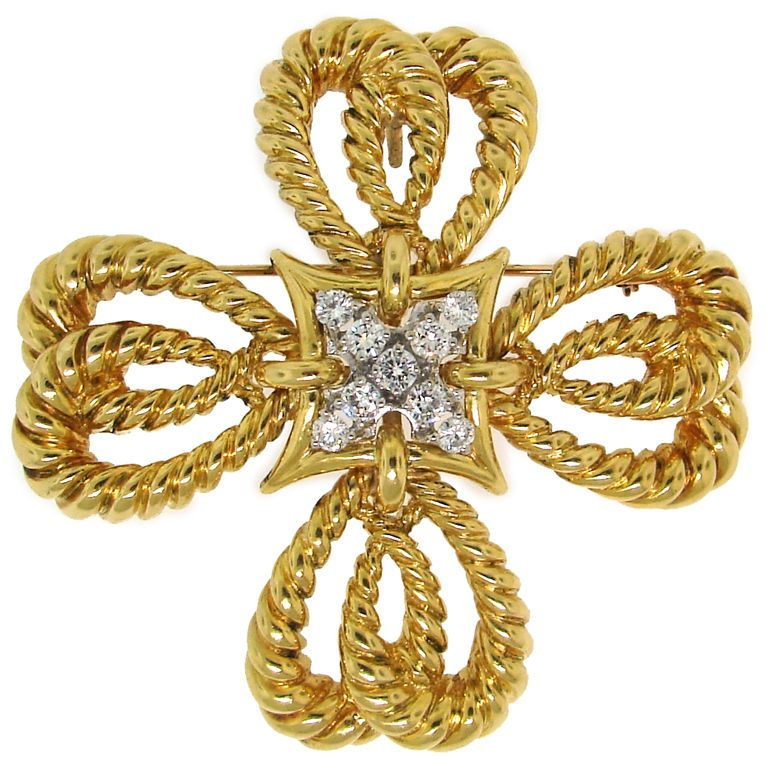 Vintage tiffany co diamond gold maltese cross pendant pin diamond gold maltese cross pendant pin mozeypictures