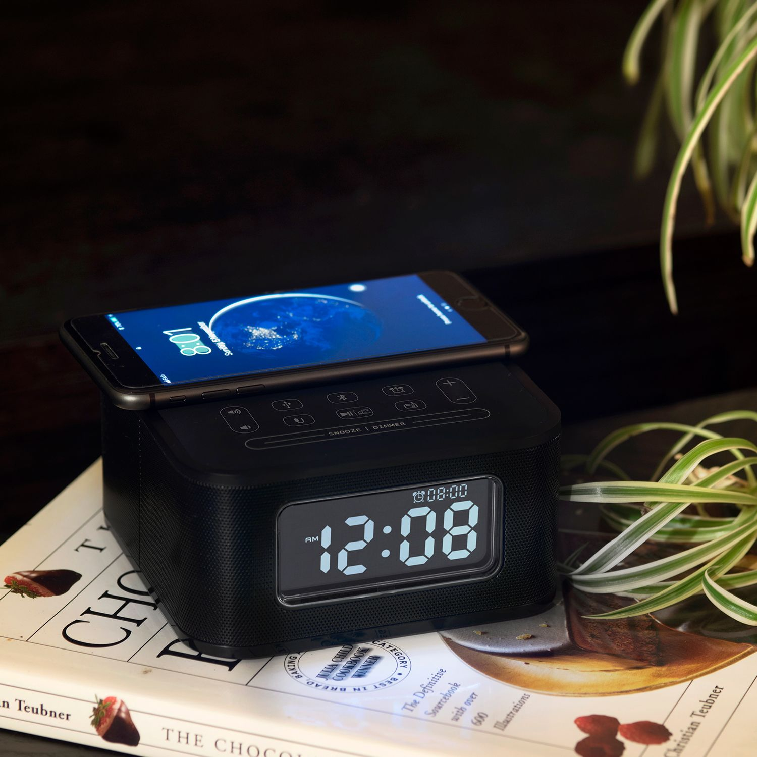 Homtime Wireless Charging Alarm Clock Radio Bluetooth Speaker For Bedrooms Wireless Charger For Iphone X Snooze Radio Alarm Clock Alarm Clock Wireless Charger
