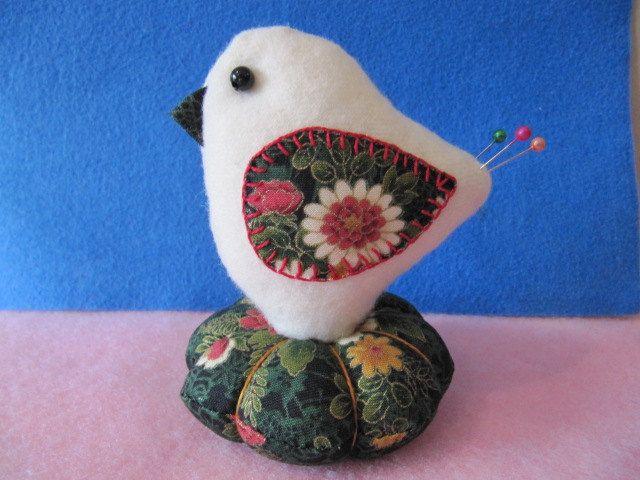 Pincushion   Wool Christmas Bird Pincushion by mariadownunder, $19.00