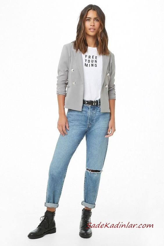 Bayan Pantolon Ceket Kombinleri Mavi Yirtik Kot Pantolon Beyaz Bluz Gri Kisa Spor Ceket Siyah Deri Bot Yirtik Kotlar Siyah Deri Deri Bot