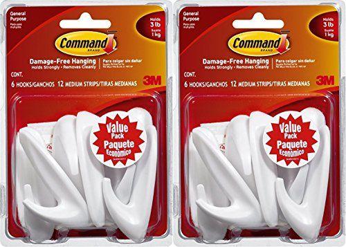 Command Medium Designer Hooks, White, 12-Hooks
