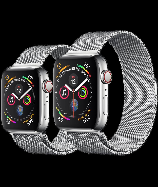 Apple Watch Edelstahlgehause Mit Milanaise Armband Apple De Apple Watch Kaufen Apfeluhr Apple Watch Edelstahl