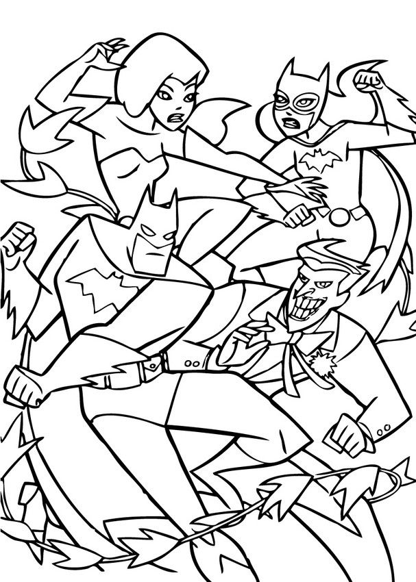 Batman Fights Enemies Coloring Page PagesColouring PagesKids