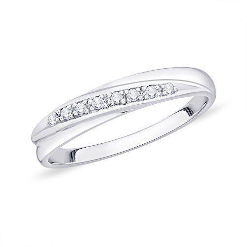 1//10 cttw, G-H,I2-I3 Size-8 Diamond Wedding Band in 10K White Gold
