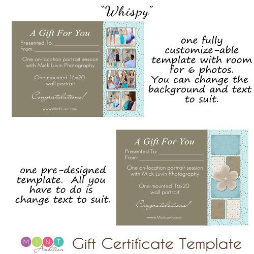 photography gift certificate template free