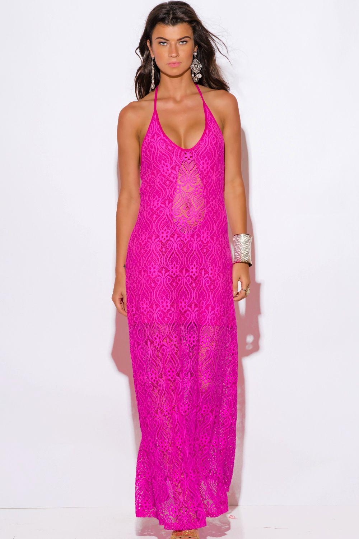FEELS SO RIGHT | hot pink baroque crochet lace halter v neck formal ...