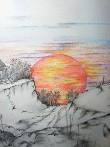 Original Art Colored Pencil Ink Sunset Landscape Drawing Matted