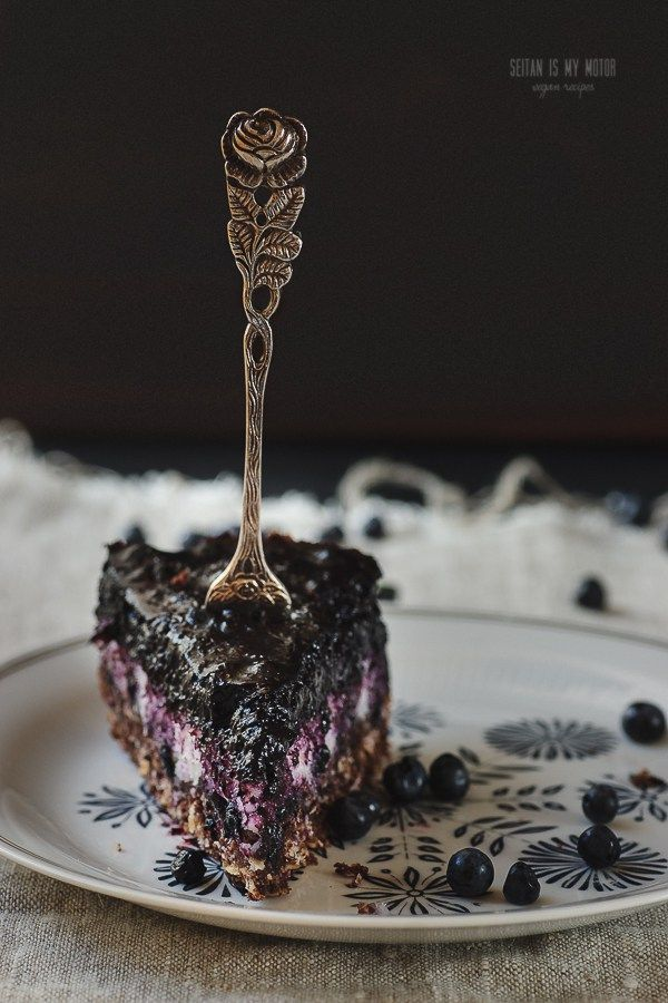 macaroon chocolate cake with blueberry topping | Vegan MoFo 2015