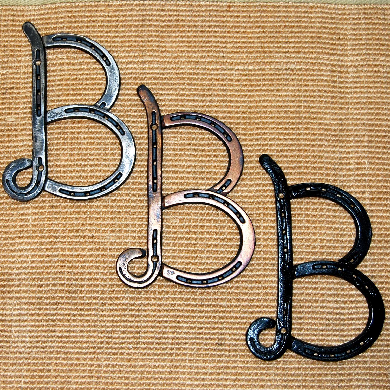 Horseshoe Letter B Initial Wedding Gift By Blacksmithcreations Horseshoe Letters Initial Wedding Gift Horseshoe Projects