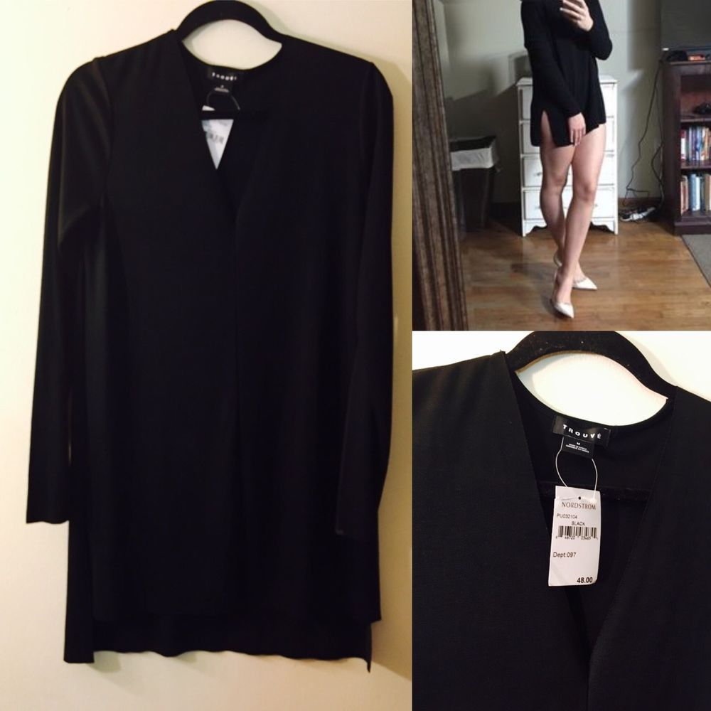 New womens trouve medium top black vneck tunic long sleeve tunic