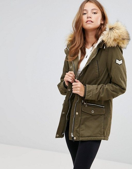 b47622545c7 Pimkie Parka Coat with Faux Fur Hood | Winter Jacket | Parka, Coat ...