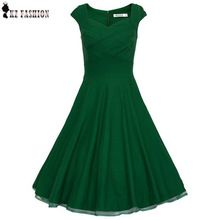 2015 New Vestido Audrey hepburn 50s Pin up Vintage Dress sleeveless Retro Party Dresses Kleider Robe Rockabilly Ball Gown D57322