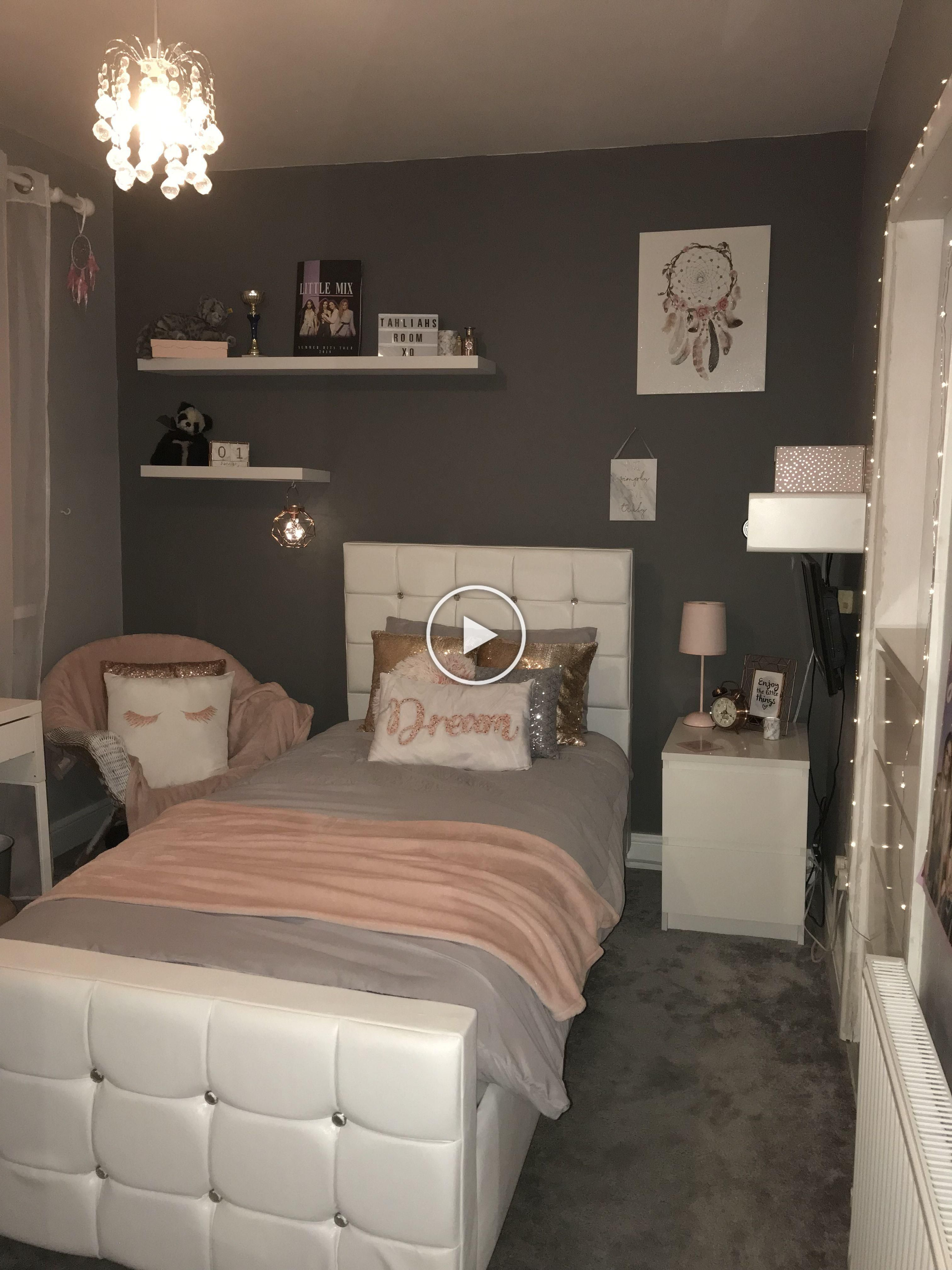 pink white grey rose gold themed bedroom eth room ideas in