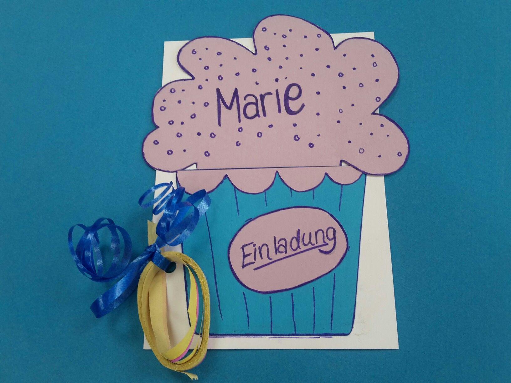 Cupcake Einladung Kindergeburtstag (Fasching)