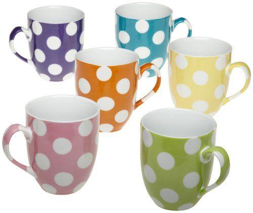 Yedi Houseware Classic Coffee and Tea White Dots Mugs Set of 6 ...
