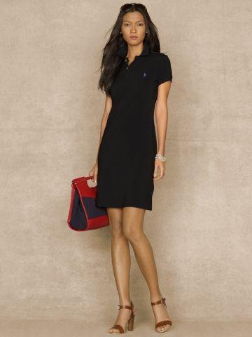 68e2e51e Cotton Mesh Polo Dress - Blue Label Short Dresses - RalphLauren.com ...