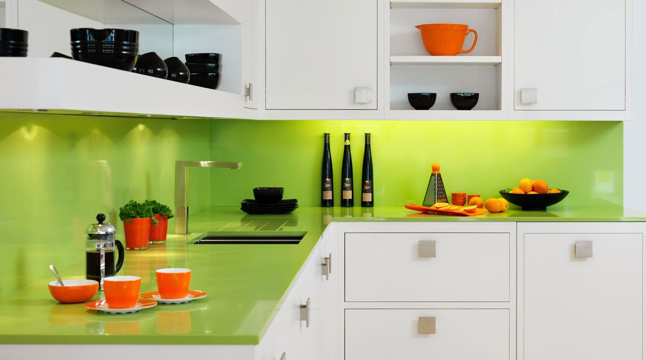 Astounding Green Kitchen Ideas With Green Backsplash And Countertop Furnished With White Wooden Ca Green Kitchen Walls Lime Green Kitchen Green Kitchen Designs