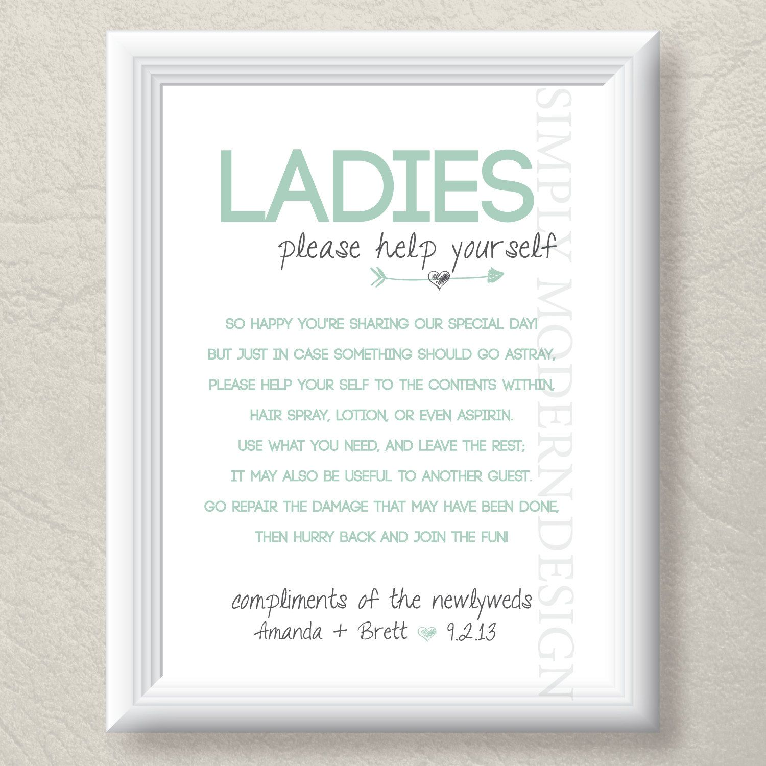 Bathroom Basket Sign Wedding Bathroom Sign Guest