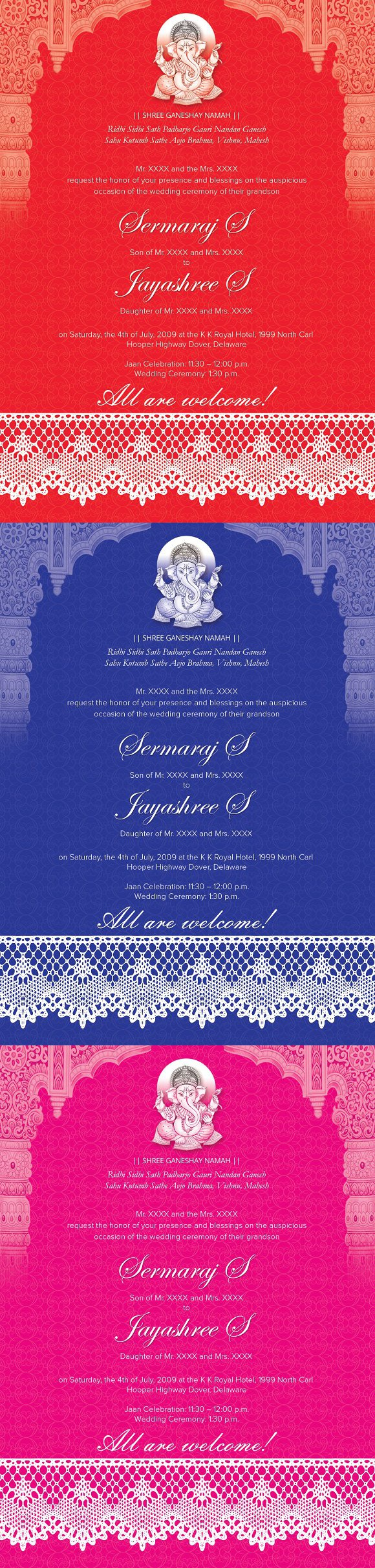 Indian Wedding Card 01 - 3 colors. Invitation Templates. $10.00 ...
