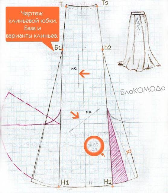 чертеж клиньевой юбки | Vestidos | Pinterest | Costura, Vestidos y ...