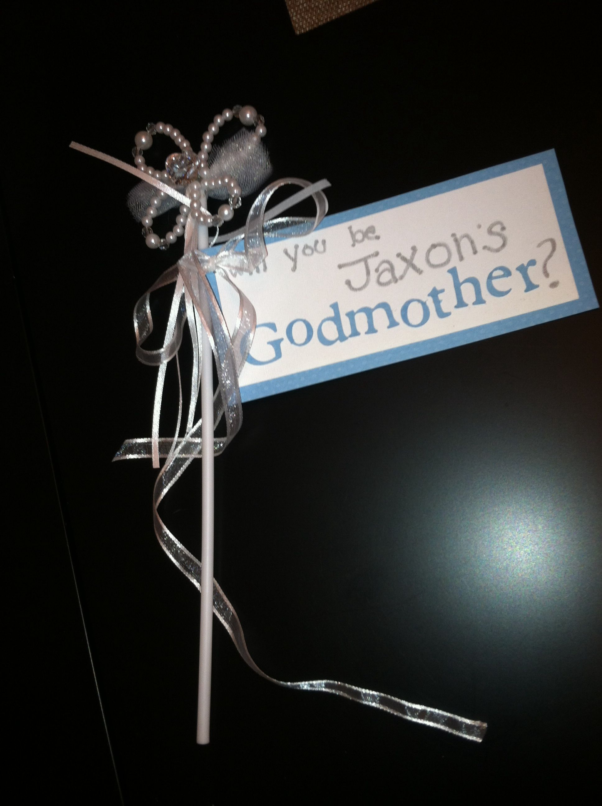 """Fairy """"will you be my godmother?"""" wand for baptism/ christening. Cute way to ask if they will be godparents."""