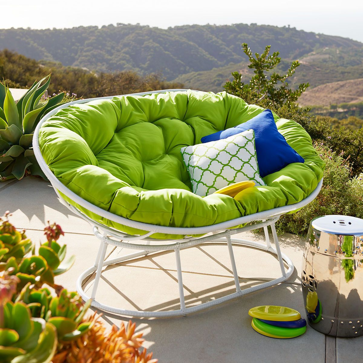 Papasan Outdoor Double Chair Frame   White | Pier 1 Imports
