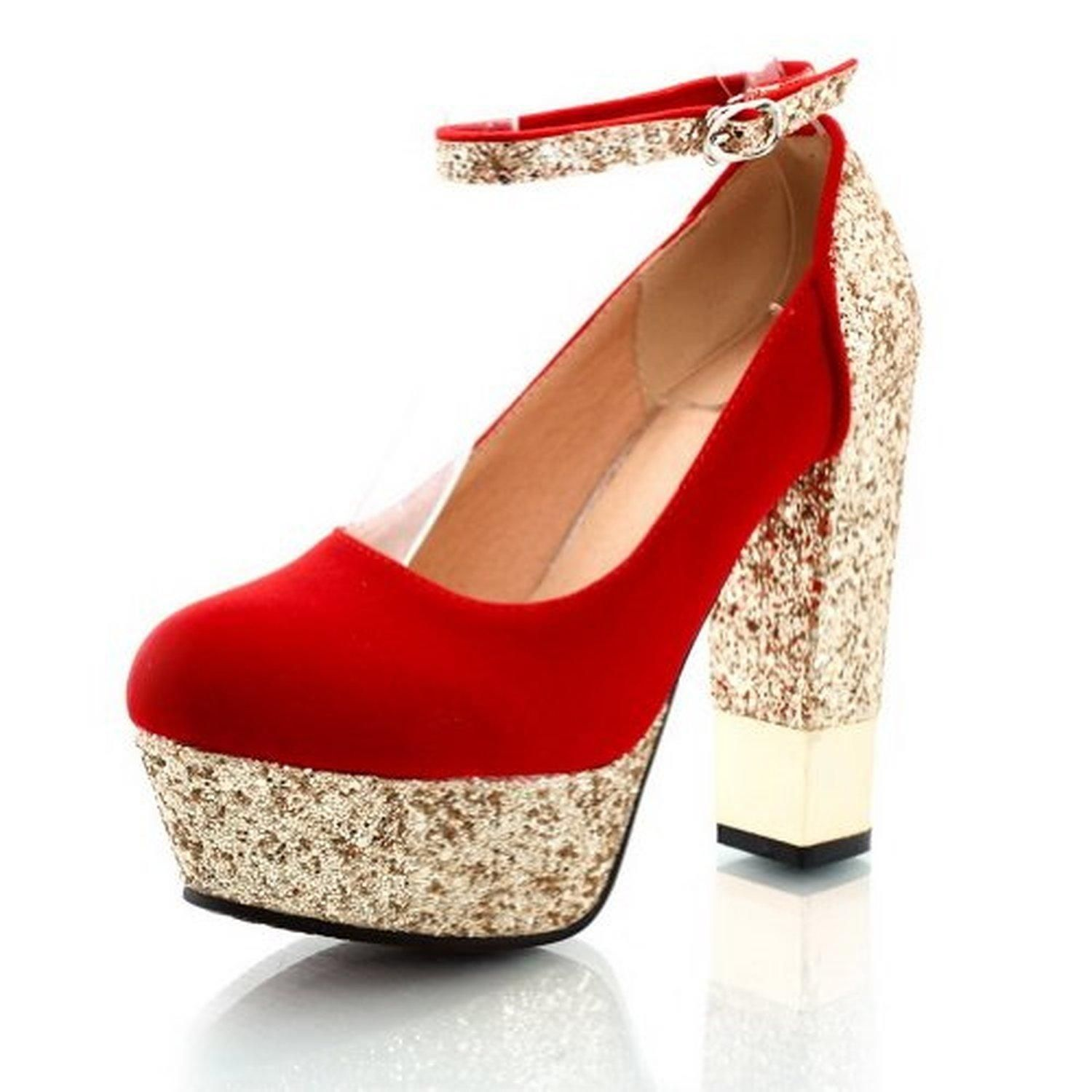 88f9bc65965 Maymeenth Womens Closed Round Toe High Heel Chunky Platform PU Mary Jane  Pumps whith Sequins