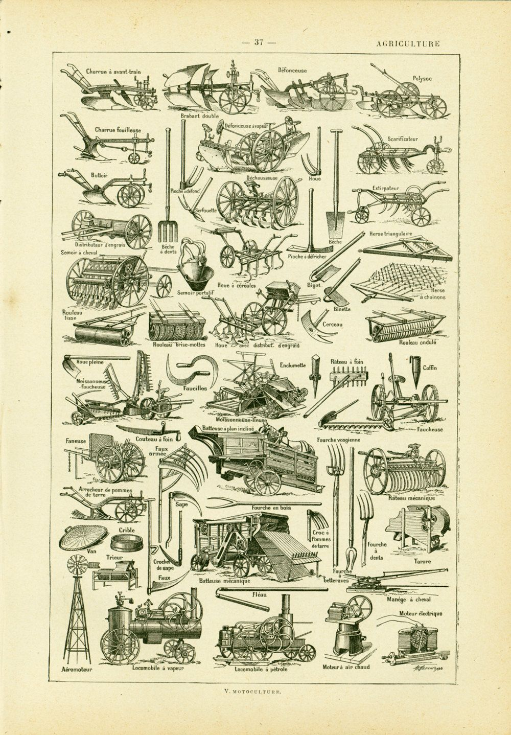 1930 Agriculture Tool #Implements, #Antique Print Larousse, Old farmer #tools, co, View more on the LINK: http://www.zeppy.io/product/gb/3/252484896/