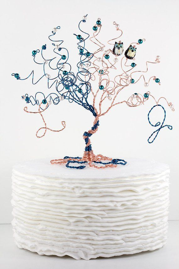 Entwined Tree Wedding Cake Topper When Two Become One Custom Wire Tree Sculpture with Pair of Entwined Tree Wedding Cake Topper When Two Become One Custom Wire Tree Sculp...