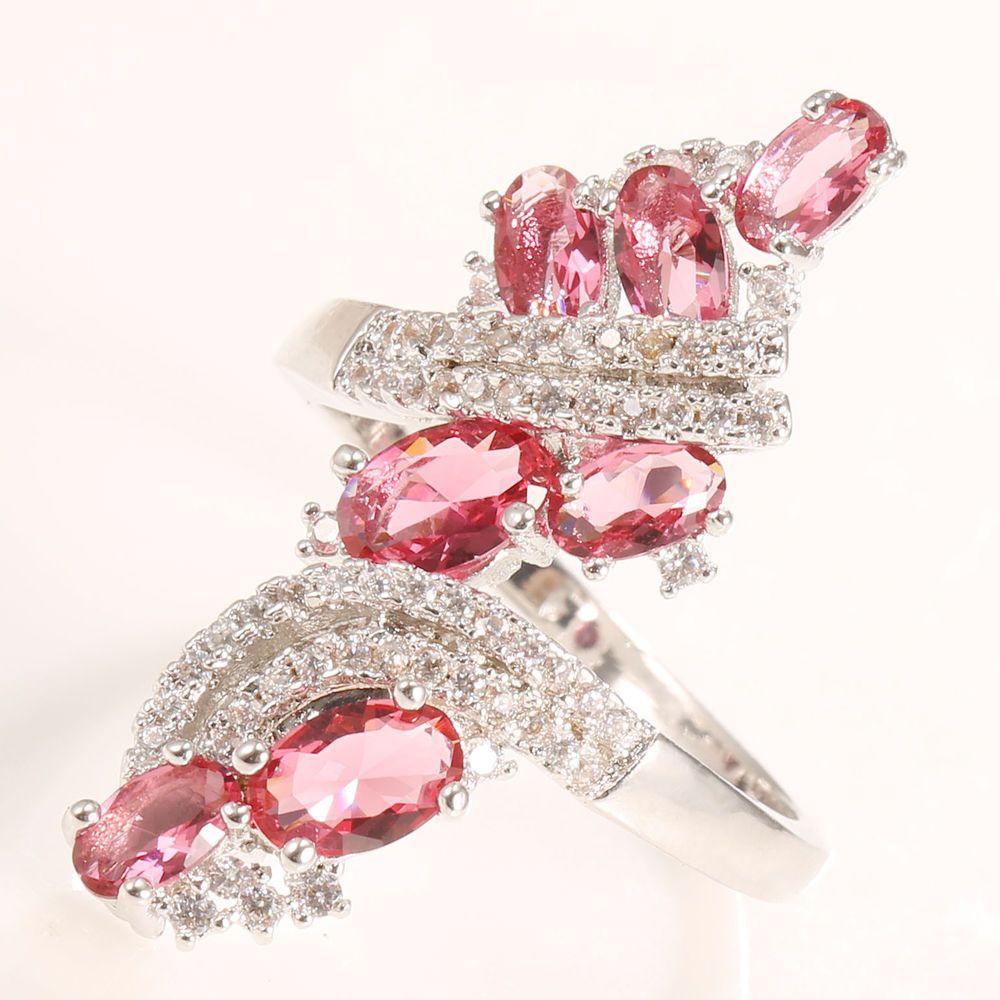 Women 925 Silver Pink Sapphire Topaz Wedding Ring Fashion Engagement ...