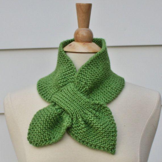 Keyhole Scarf Knitting Pattern Knit Ascot Scarf Pattern Unique