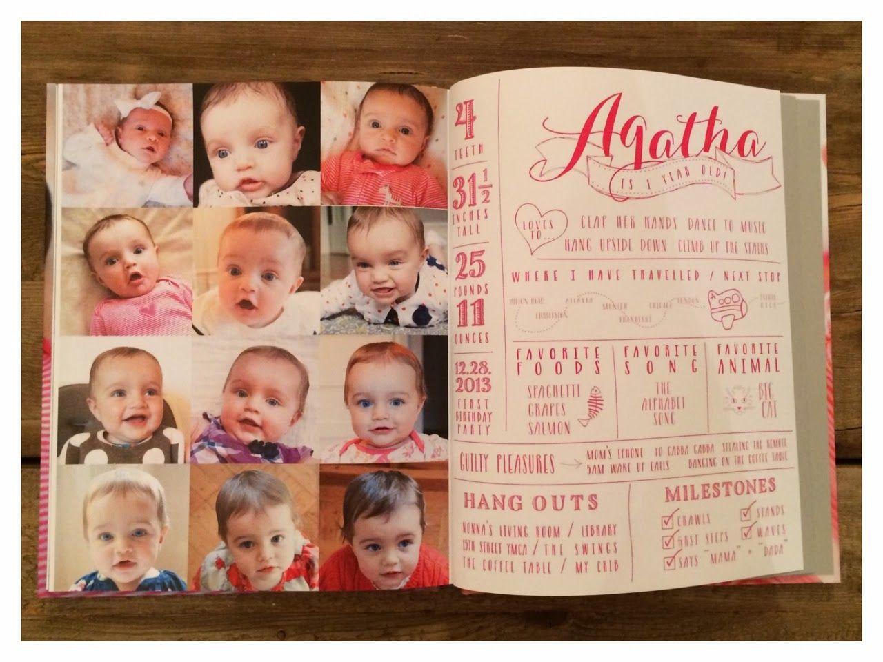 Scrapbook ideas baby milestones - Brooklyn Limestone Agatha S First Year Baby Book